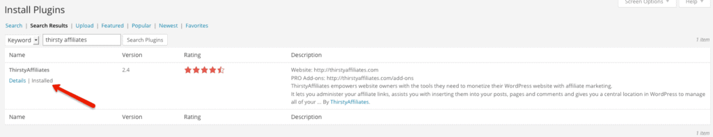 Thirsty Affiliates - Installation