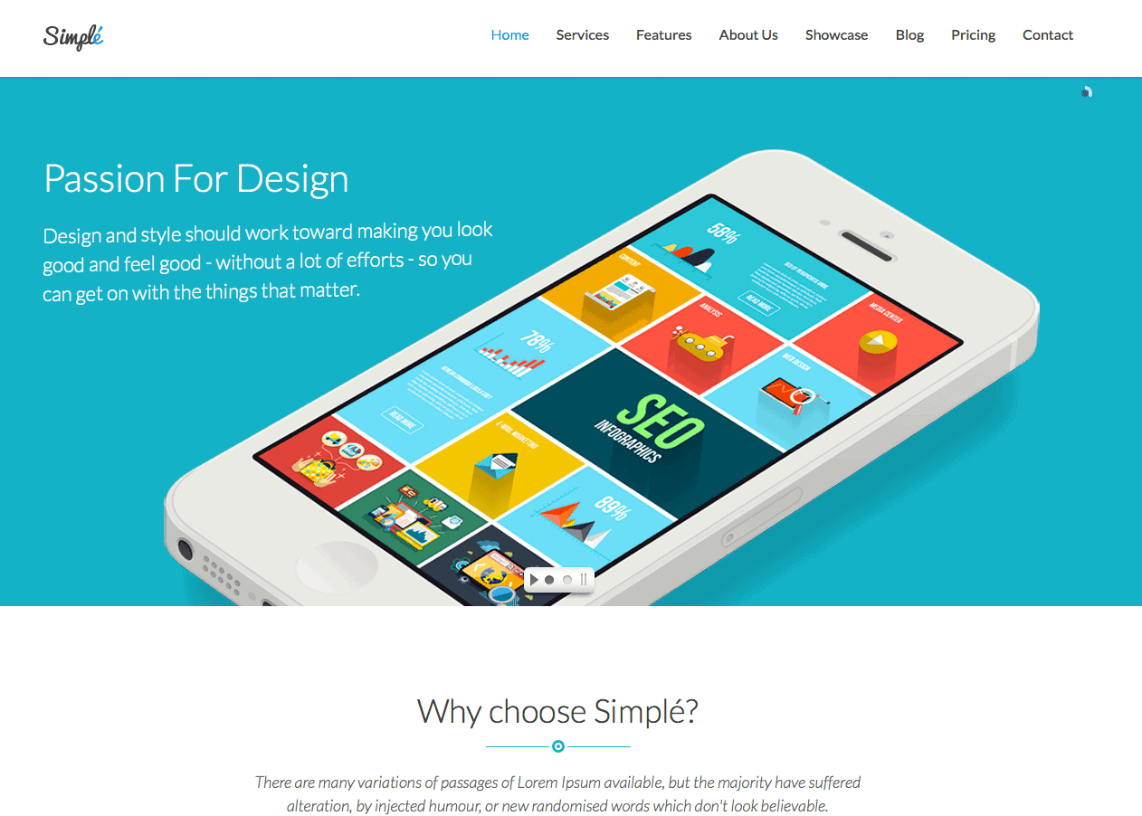 Simple - One Page Bootstrap WordPress Theme
