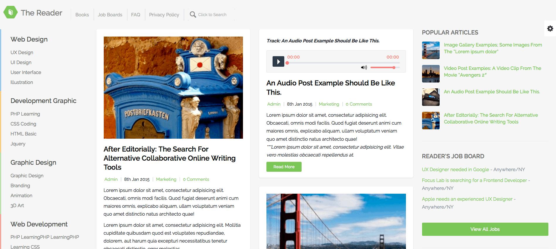 The Reader WordPress Minimal Blog Template
