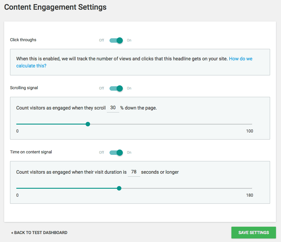 Thrive Headline Optimizer - Content Engagement Settings