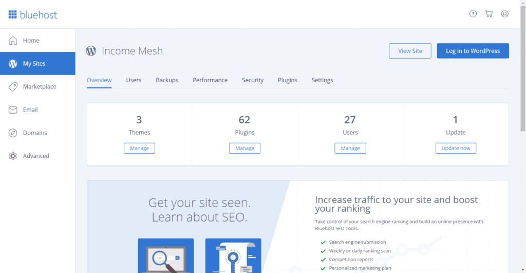 Bluehost Interface