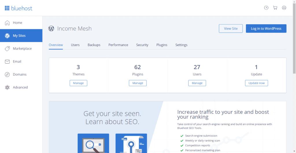 Bluehost Interface