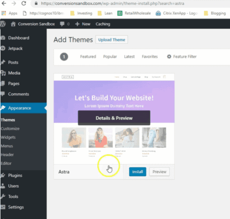 Install Astra Theme for Ecommerce WordPress Site Free