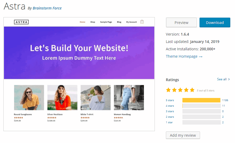 Astra Theme Review - Ratings on WordPress