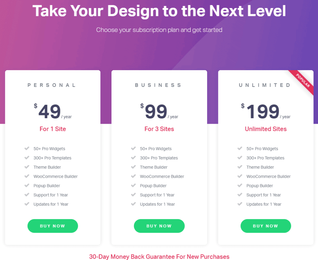 Elementor Pro Review Pricing Options
