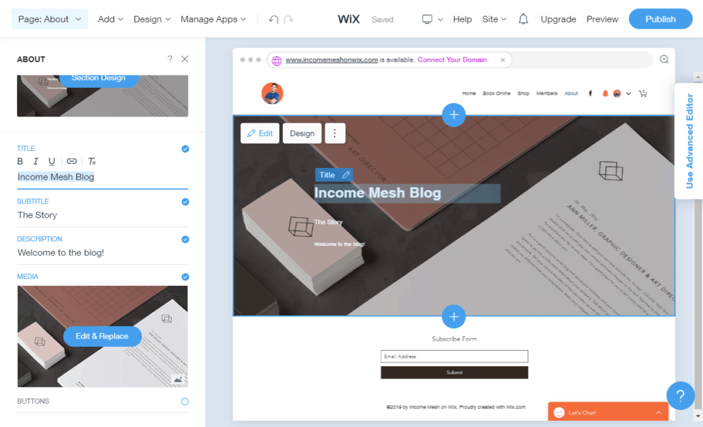 Wix Create a Web Page