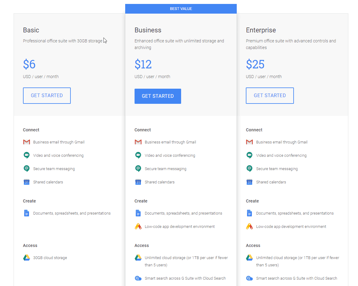 Free Professional Email Address - GSuite Pricing