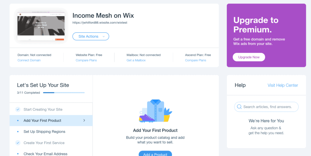 Wix Website Building Interface