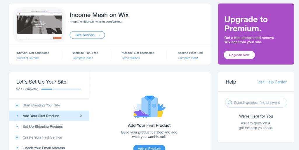 Wix Website Building Interface