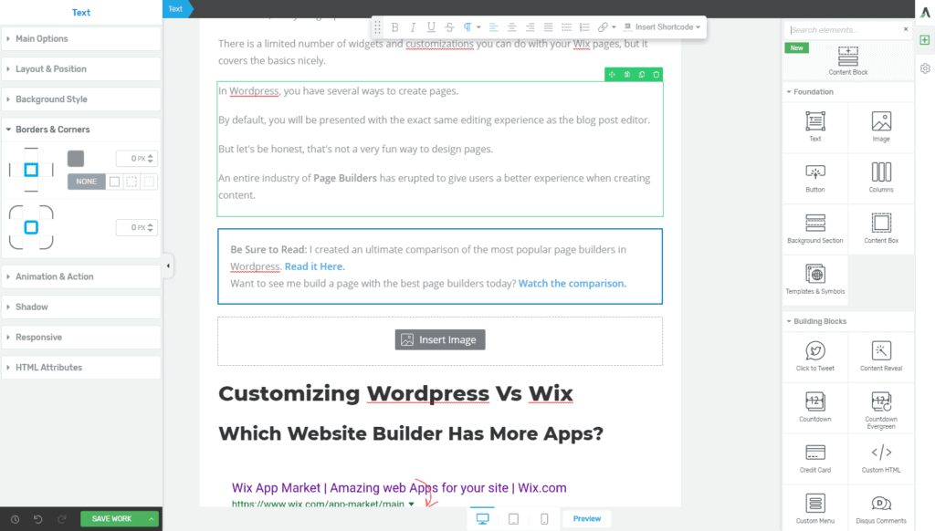 Wordpress vs Wix Page Builders