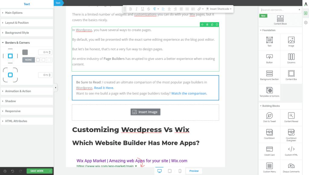 Wordpress vs Wix Page Builders