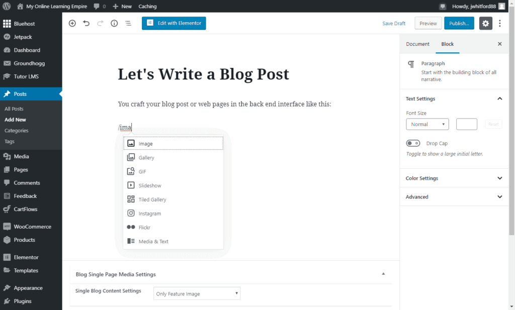 Wordpress Editing Interface vs Wix