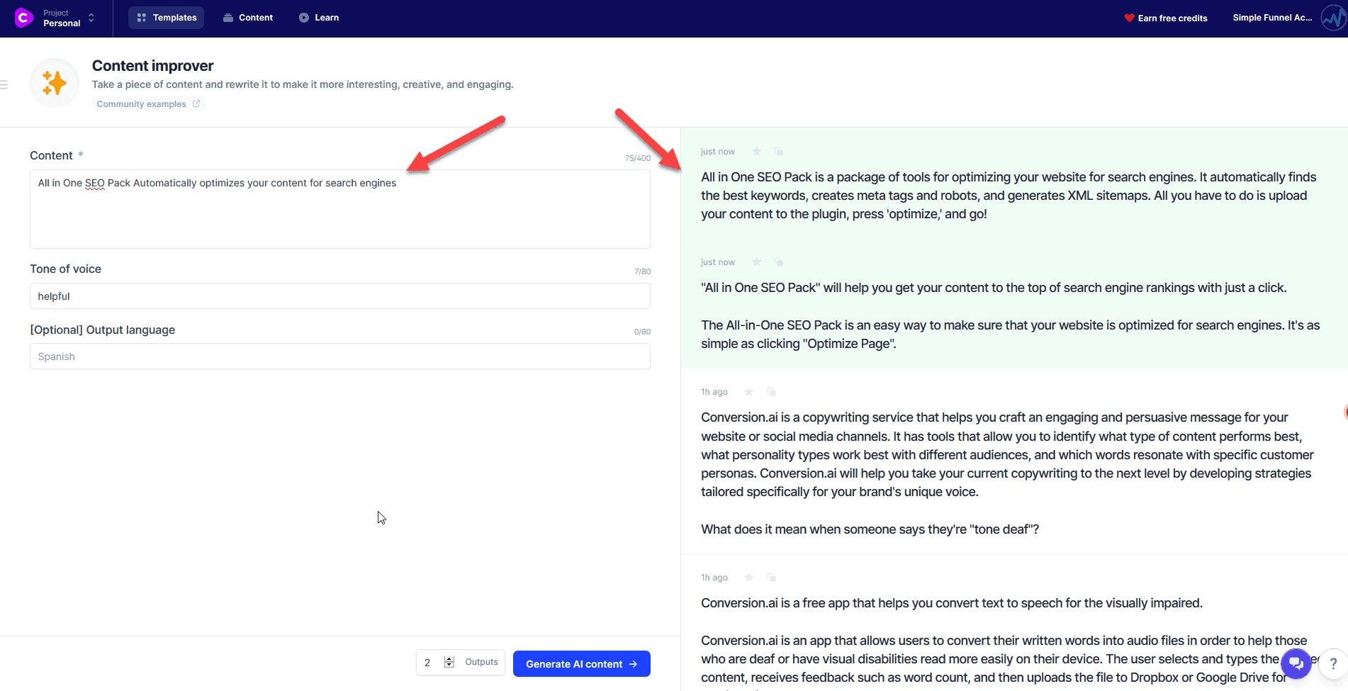 Conversion.ai Content Improver